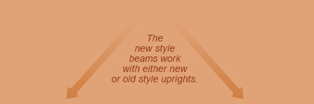 The new style beams work with either new or old style uprights.